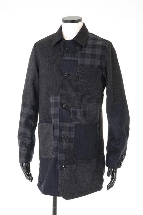 WOOL PACHWORK SHOP COAT (3colors)【即日発送可能!】