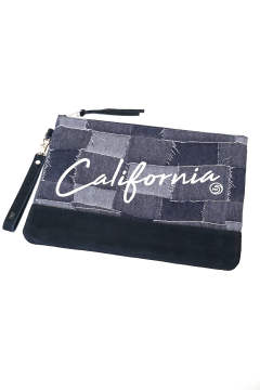 【即日発送可能!】PATCHWORK JACQUARD DENIM CLUTCH BAG