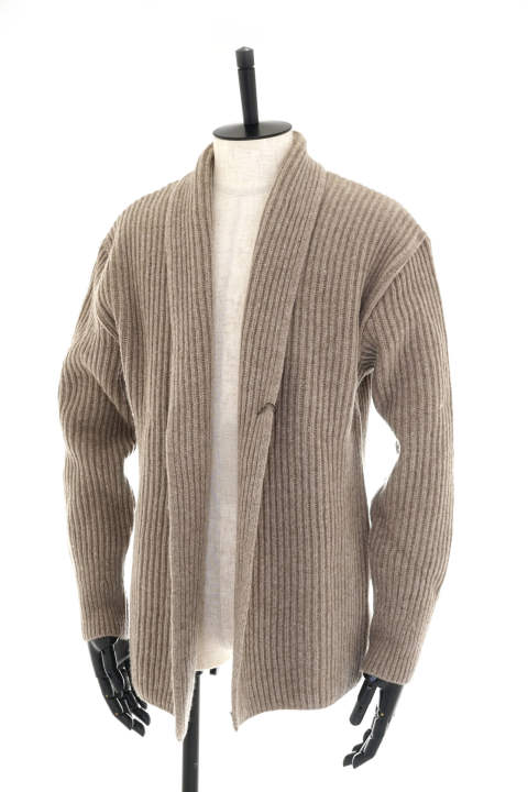 5G Cardigan - Powder Wool Yarn / Beige【即日発送可能!】