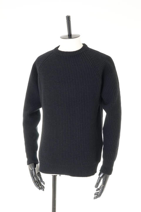 5G Crew Neck Sweater - Powder Wool Yarn / BLACK【即日発送可能!】